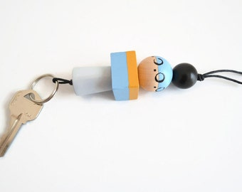 Keychain -Key Ring - Wood Beads - Hand painted - Geometric Shapes - Key Charm