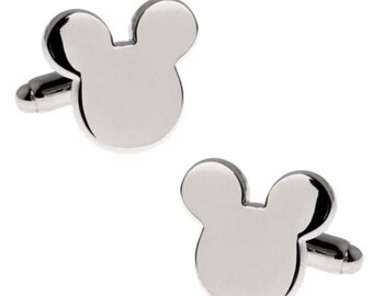 Disney Wedding Silver Plated Disney Mickey Mouse Cufflinks for Disney Groom, Groomsmen and Prom