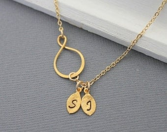 Personalized initial necklace, Infinity Necklace, Eternity Necklace Gold monogram Jewelry Dainty Necklace Friendship Jewelry Gold Filled