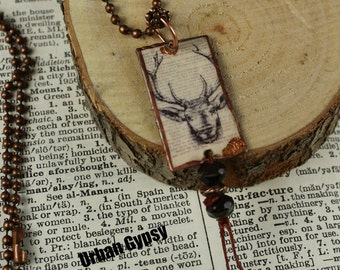Wild Buck Forest  Nature Inspired Woodland Deer Tag Necklace