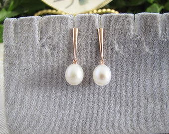 Baroque Pearl Drop Sterling Silver Earrings, vermeil Rose Gold