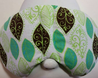 Herbal Hot/Cold Therapy Sleep Mask with adjustable and removeable strap Green Leaves