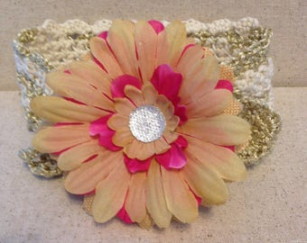 Infant baby crochet adjustable headband with removable clip on flower
