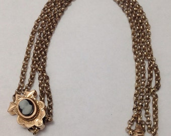 Victorian 35 Inch Gold Filled Ladies Slide Chain with Hard Stone Cameo Slide 1880  FREE SHIPPING