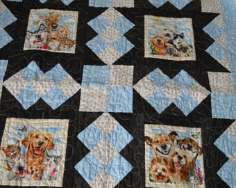 Dog Quilt, Wall Hanging, Lap Quilt, Throw, 32 x 32, Pet Selfies