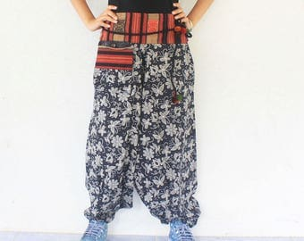 flowers with gray Thai tribal Hmong Naga decored on  waist  harem pants hand weave cotton,yoga,spa,hippie, bohemian,  size S-M,unisex pants.