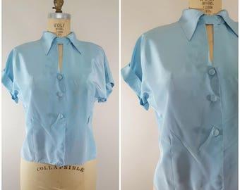 Vintage 1940s Silk Blouse / Baby Blue / Short Sleeve / Large