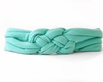 Jersey Baby Headband - Sailor Knot Headband - Aqua Blue Headband - Top Knot Headband - Baby Headwrap - Baby Headband - Toddler Headband