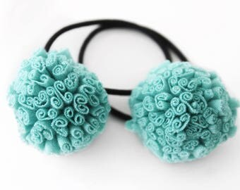 Pigtail Bows - Set of 2 - Pom Hair Tie  - Pom Hair Bow - Ponytail Holder - Pom Pom Hair Accessories - Ponytail Wrap - Hair Tie Set