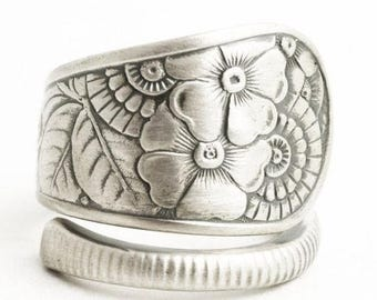 Retro Wild Floral Ring, Sterling Silver Spoon Ring, Antique Gorham Silver Ca 1880, 5th anniversary Gift for Her, Adjustable Ring Size (6518)