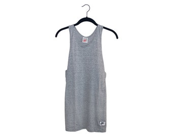 Vintage Nike Tri-Blend Heather Gray Old School Swoosh Gray & Red Label Blank Tank Top, Made in USA - XL