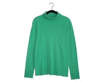 Vintage Obermeyer Medico 100% Cotton Bright Green Turtleneck Longsleeve Shirt, Made in West Germany - Medium