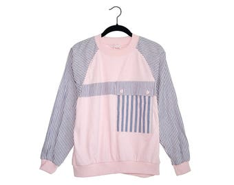 Vintage Jantzen Petite Pink and Blue Color Blocked Sailor Stripe 100% Cotton Longsleeve Top, Made in USA - Medium