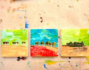 Three Paintings of Trees for one price, ORIGINAL PAINTINGS, acrylic painting, landscape painting, art landscape, a grove of trees, green
