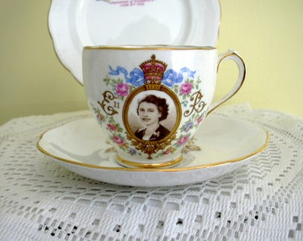 Vintage Roslyn China Trio 1953 Queen Elizabeth ll Coronation 1953 Commemorative Tea Cup Saucer and Plate Pink Roses Blue Ribbon