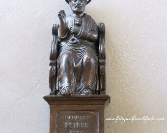SALE Antique French Bronzed Spelter Statue of St Peter & The Keys of Heaven Seated Upon A Throne 19th century