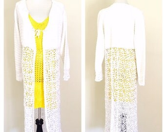 White Crochet Jacket/Sweater/Tunic, long Lace Design, Vintage Inspired, Hand Made in the U S A, item no. Bde011