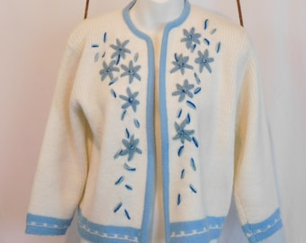 Vintage Crewel Knit Floral Cardigan, Blue And White Knit Sweater, Bombshell Cardigan