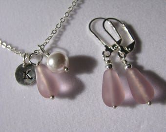 Dusty Rose Bridesmaid Jewelry Set Dusty Pink Earrings and Personalized Necklace Dusty Rose Bridesmaid Necklace Pink Sea Glass Beach Wedding