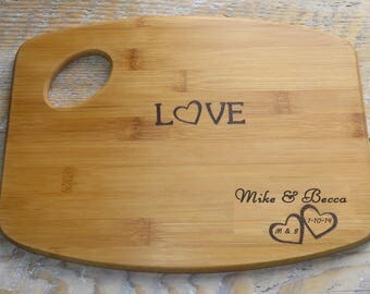 Personalized Love Hearts Cutting Board