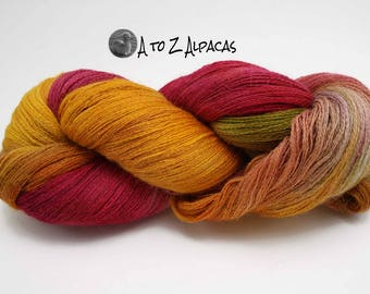 Hand Dyed Royal Baby Alpaca Yarn Lace Weight - Starburst