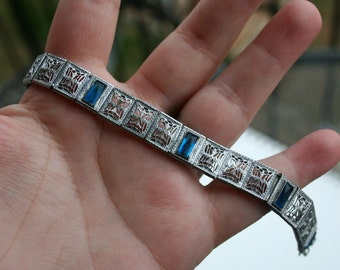 Vintage Art Deco Filigree Blue Stone Bracelet