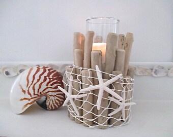 Nautical Driftwood Candle Holder, White Fish Net, Starfish, Glass Insert
