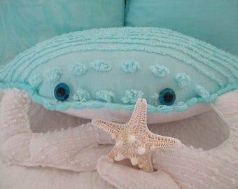 Nautical Vintage Chenille Crab Pillow, Turquoise/White, Vintage Taxidermy Eyes