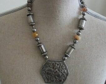 Vintage ethnic necklace, tribal necklace, lion pendant necklace, metal bead necklace, silver tone metal filigree, vintage necklace,primitive