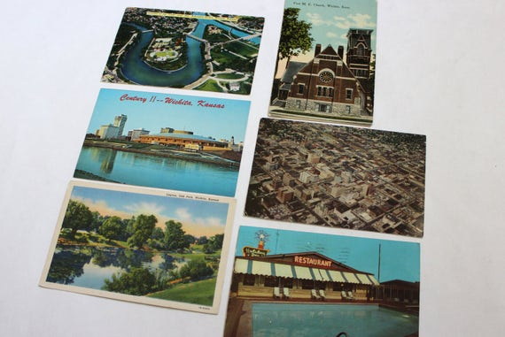 6 vintage wichita kansas postcards used collage mixed for Craft stores wichita ks