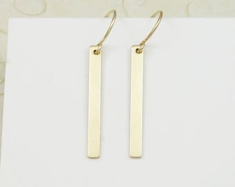 Dangle Bar Earrings Silver, Simple Bar Earrings, Bar Earrings Gold, Straight Line Earring, Popsicledrum, 14K Gold Filled Earring Silver