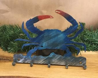 Crab Metal Key Rack, Nautical Wall Decor, Maryland Blue Crab, Beach Gift, Beach Decor,