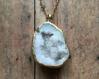 Quartz druzy necklace