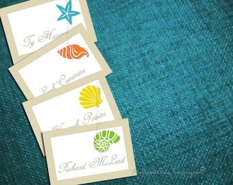 PRINTABLE SEASWEPT AWAY 100 Personalized Place Cards Custom Color Diy Wedding Beach Destination Template Escort Favor Tag Thank You Label