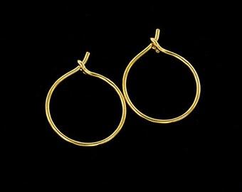 2 pairs of Sterling Silver 24k Gold Vermeil Style Hoop Earrings 15mm.  :vm0893