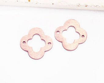 2 of 925 Sterling Silver Rose Gold Vermeil Style Clover Links, Connectors 12mm., Brush Finished  :pg0498