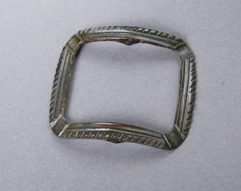 Antique brass frame plate, part of buckle, dark patina