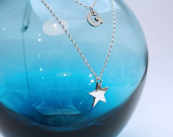 Sterling Silver 925 Double Strand Star and Letter necklace / personalised / birthday / for her /