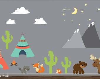 TeePee Camp Wall Decals with Cactus Decal-Bear,Moose,Stars, Mountain Decal-Reusable Wall Decals-Kids Wall Decor-Nursery Wall Decals