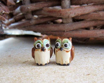 Little Owls-Beads-Lampwork-Destash-Brown Owls