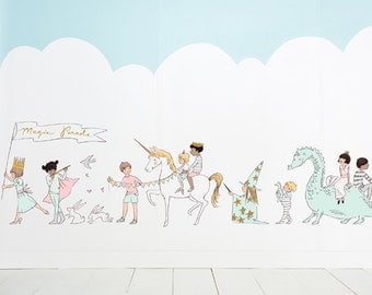 Sarah Jane Magic! Parade Eco-Friendly Reusable Fabric Wall Decals by Pop & Lolli