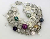 Silver Multi-strand Bracelet, Chains, Various colored Pearls, larger size, gift, women, casual to elegant