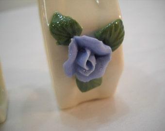 Set of 4 Cream Color Blue Rose Genuine Porcelain Napkin Holders