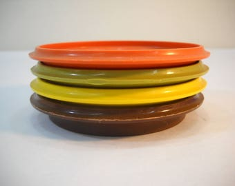 Vintage Tupperware Coasters Or Mug Covers Harvest Colors Set Of 4