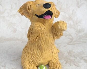 Golden Retriever hand scultped play ball figurine #2