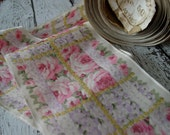 Antique Wide Beautiful Victorian Rose pattern Taffeta Ribbon, one yard with more available