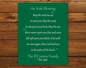 Irish Blessing Personalized Print - Pine Green St. Patrick's Day Wall Art - Wedding, Anniversary, or Housewarming Gift