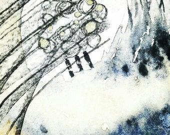 Sharing a Shell. Original Mixed Media Painting. Abstract. Art. Contemporary. Interior. Watercolour. Acrylic. Ink.