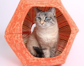 Cat Cave - Covered Cat Bed - the Cat Ball Pet Bed made in Orange Woodlands Damask Cotton Fabric with Striped Lining - made in Washington