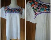 Vintage 70s Peasant Embroidered Blouse 1970s Hippie Blouse Gauze Muslin Embroidery Mexican Embroidered Festival Top 34B